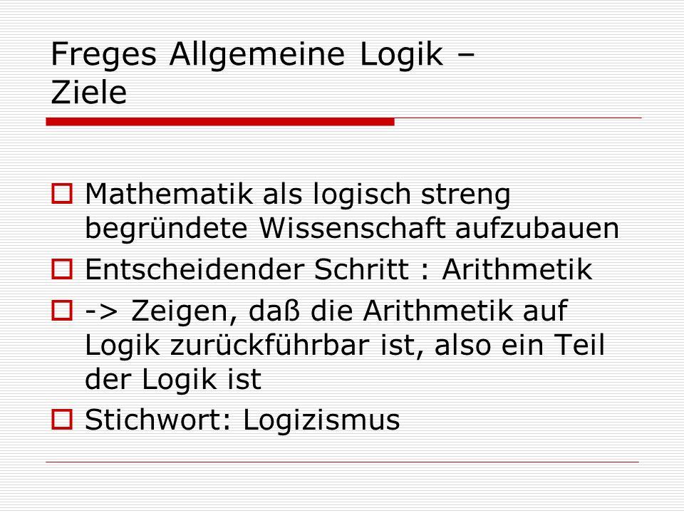 Freges Allgemeine Logik – Ziele