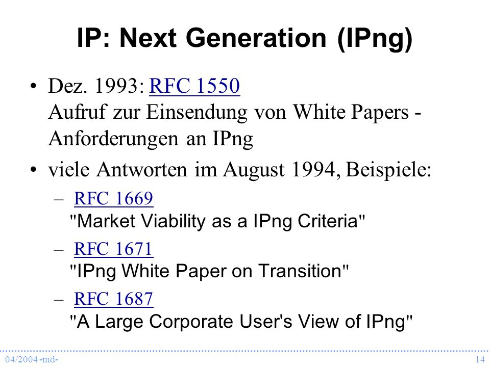 IP: Next Generation (IPng)