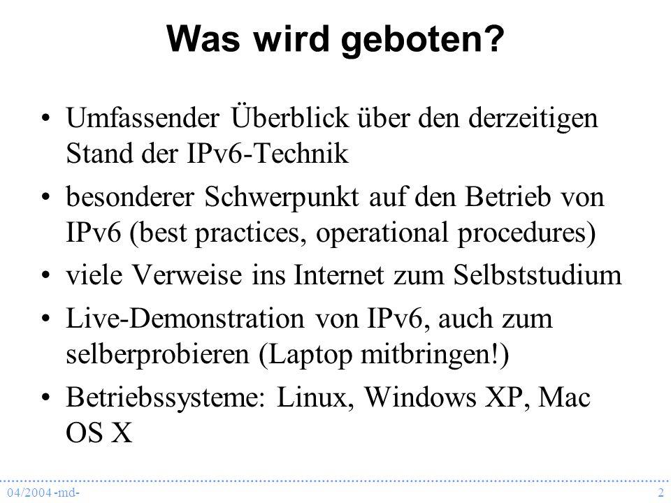 Was wird geboten Umfassender Überblick über den derzeitigen Stand der IPv6-Technik.