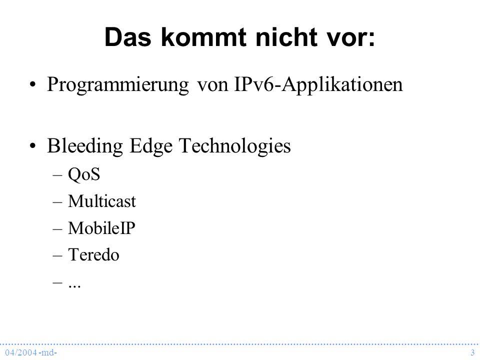 Das kommt nicht vor: Programmierung von IPv6-Applikationen