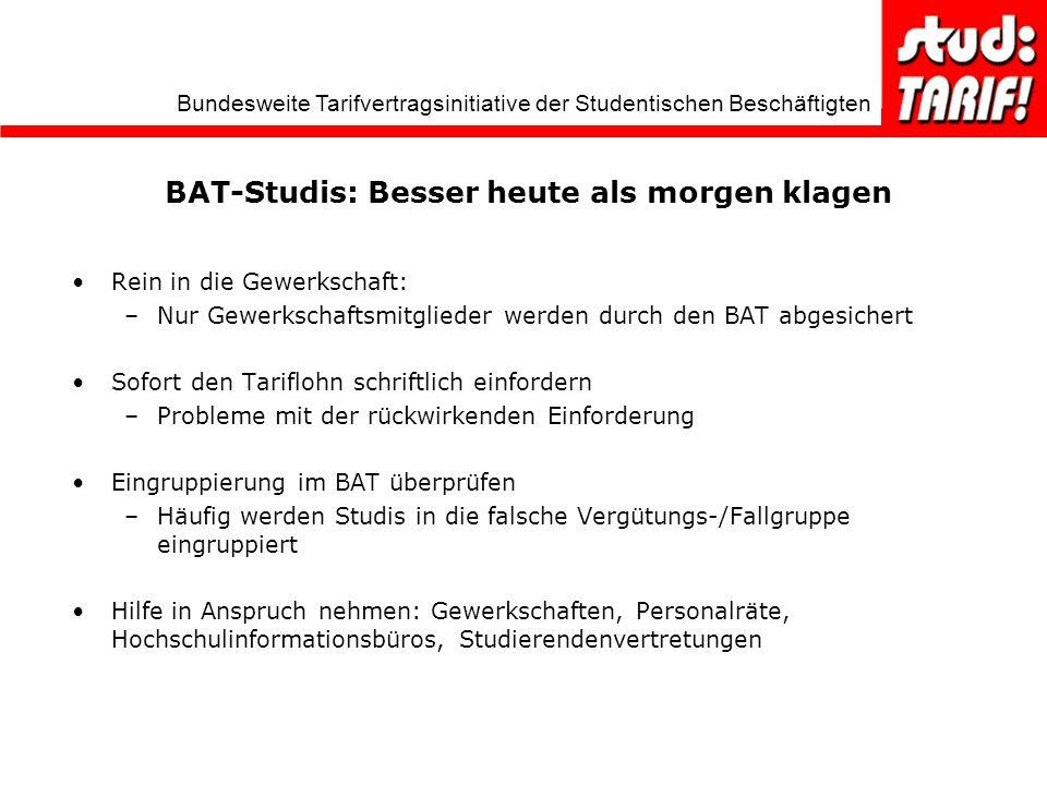 BAT-Studis: Besser heute als morgen klagen