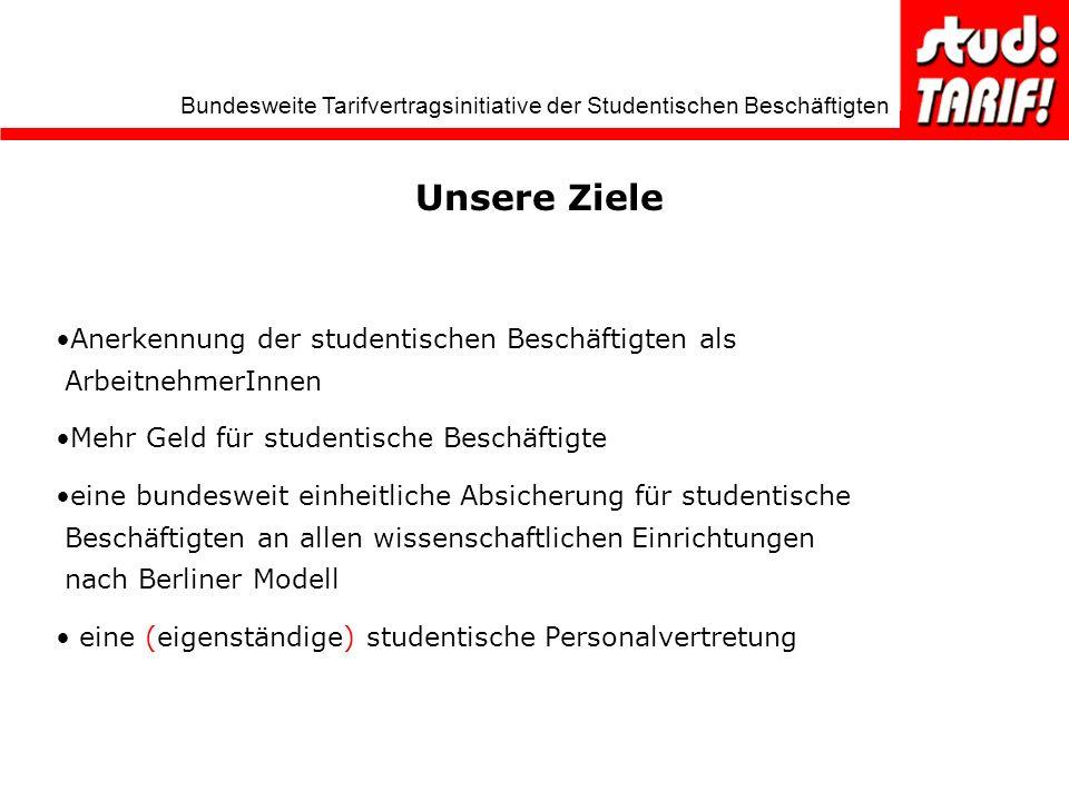 Unsere Ziele Anerkennung der studentischen Beschäftigten als ArbeitnehmerInnen. Mehr Geld für studentische Beschäftigte.