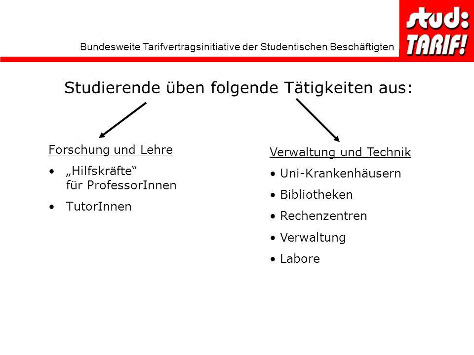 Studierende üben folgende Tätigkeiten aus: