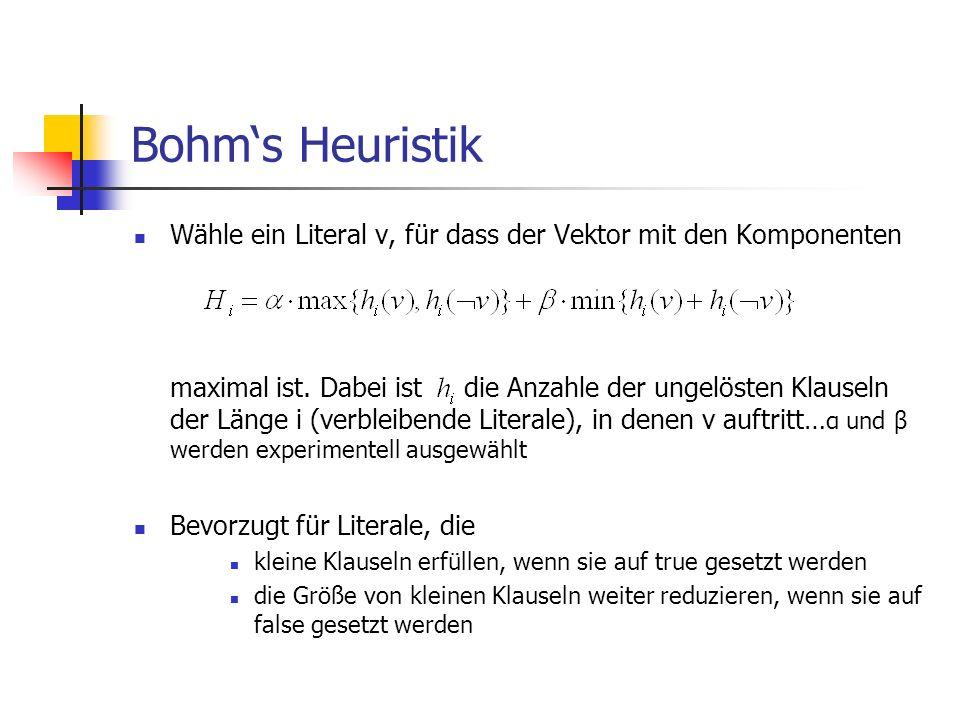 Bohm's Heuristik Wähle ein Literal v, für dass der Vektor mit den Komponenten.