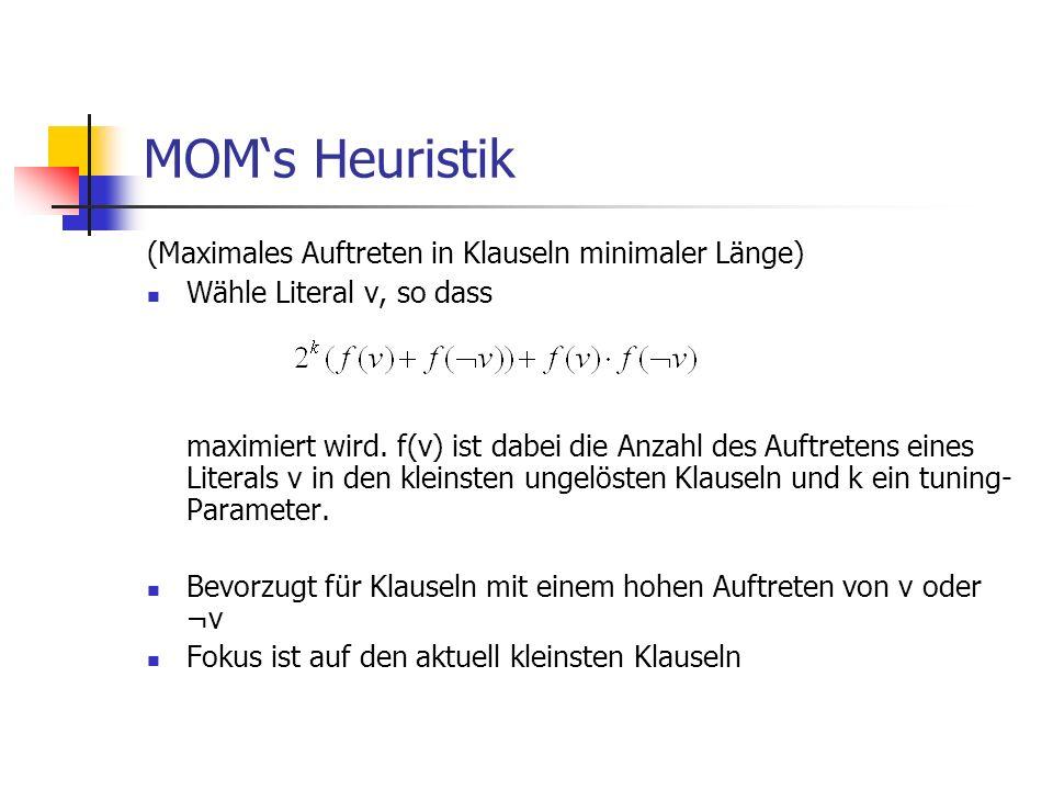 MOM's Heuristik (Maximales Auftreten in Klauseln minimaler Länge)
