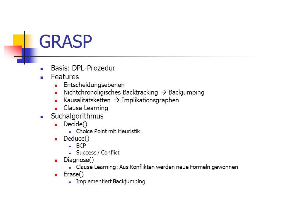 GRASP Basis: DPL-Prozedur Features Suchalgorithmus Entscheidungsebenen