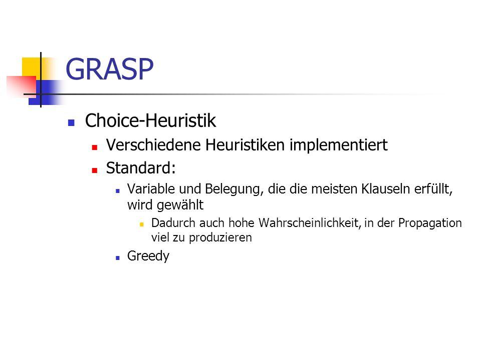 GRASP Choice-Heuristik Verschiedene Heuristiken implementiert