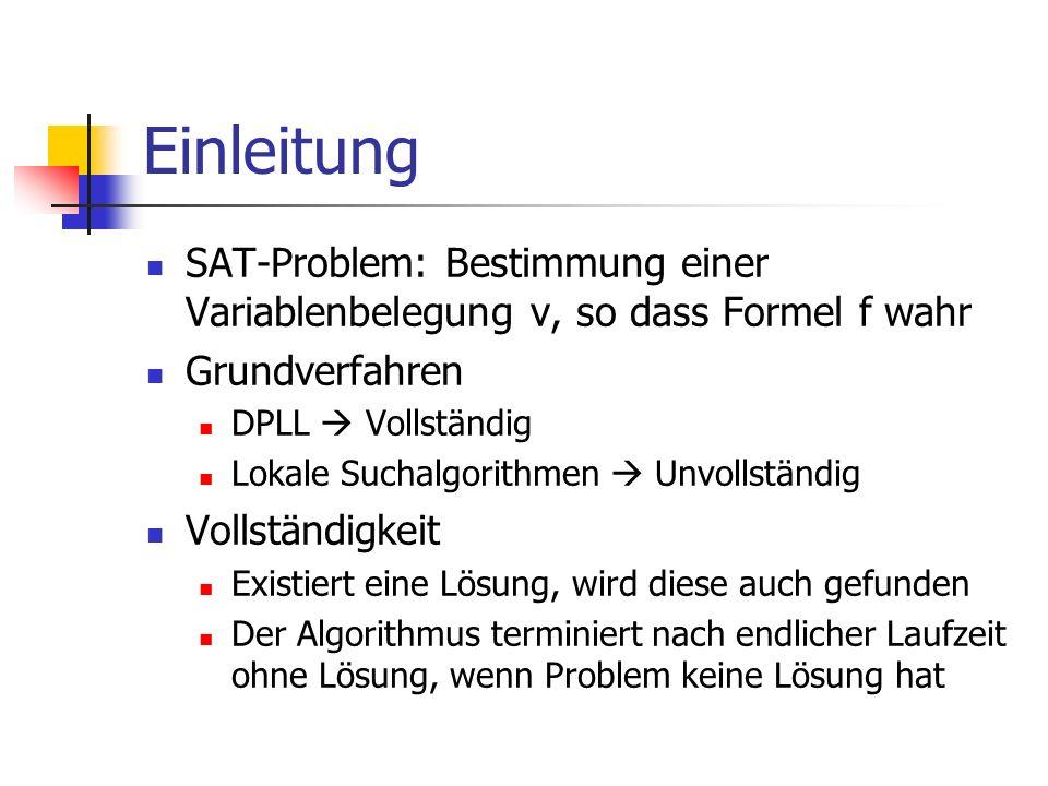 Einleitung SAT-Problem: Bestimmung einer Variablenbelegung v, so dass Formel f wahr. Grundverfahren.