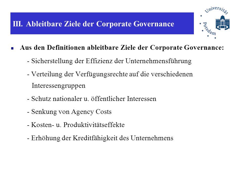 III. Ableitbare Ziele der Corporate Governance