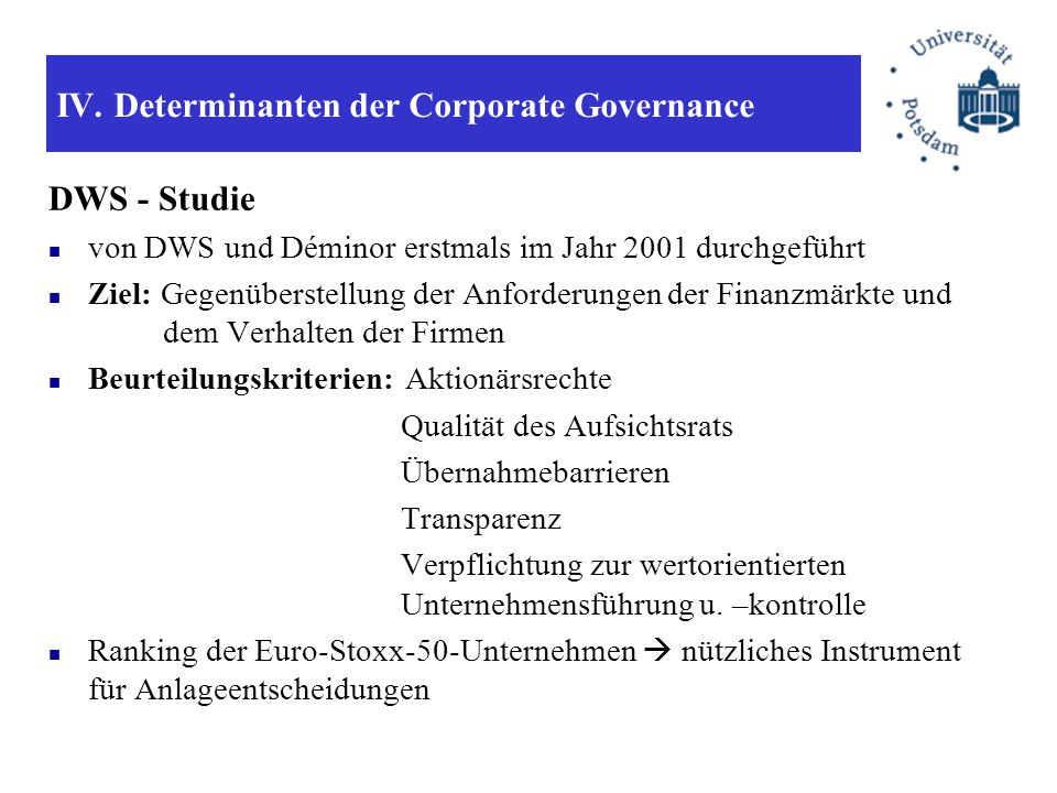 IV. Determinanten der Corporate Governance