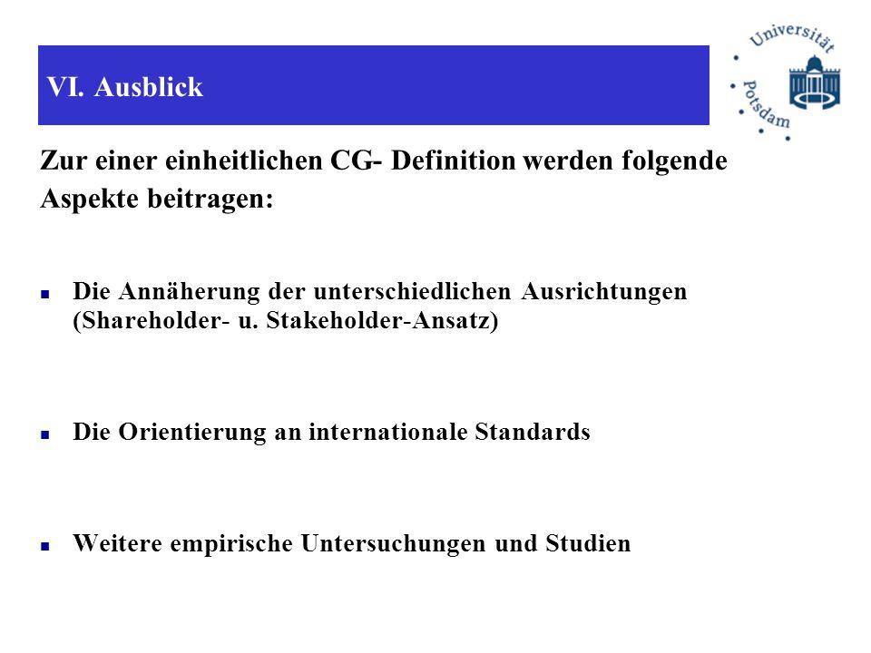 Zur einer einheitlichen CG- Definition werden folgende