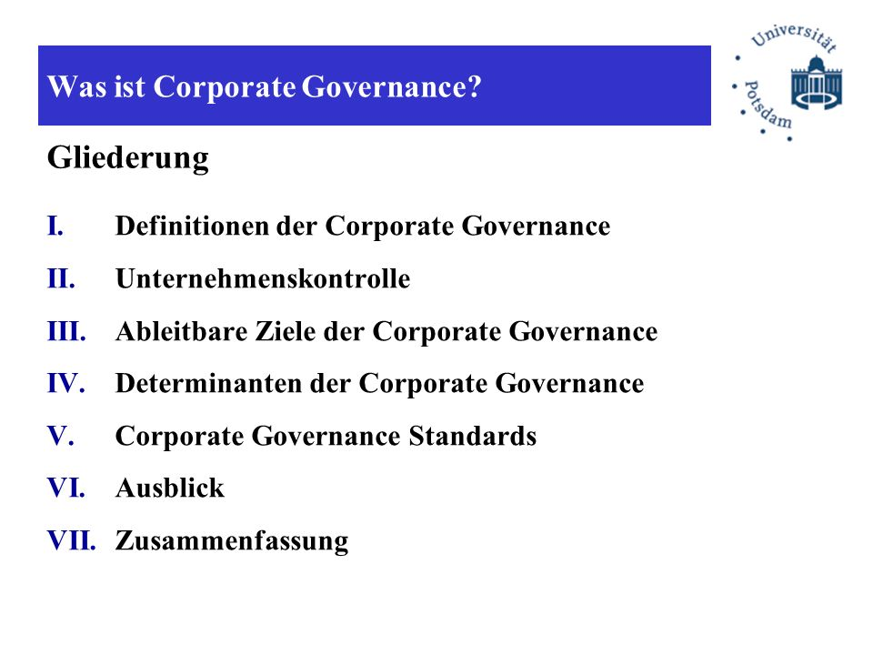 Was ist Corporate Governance