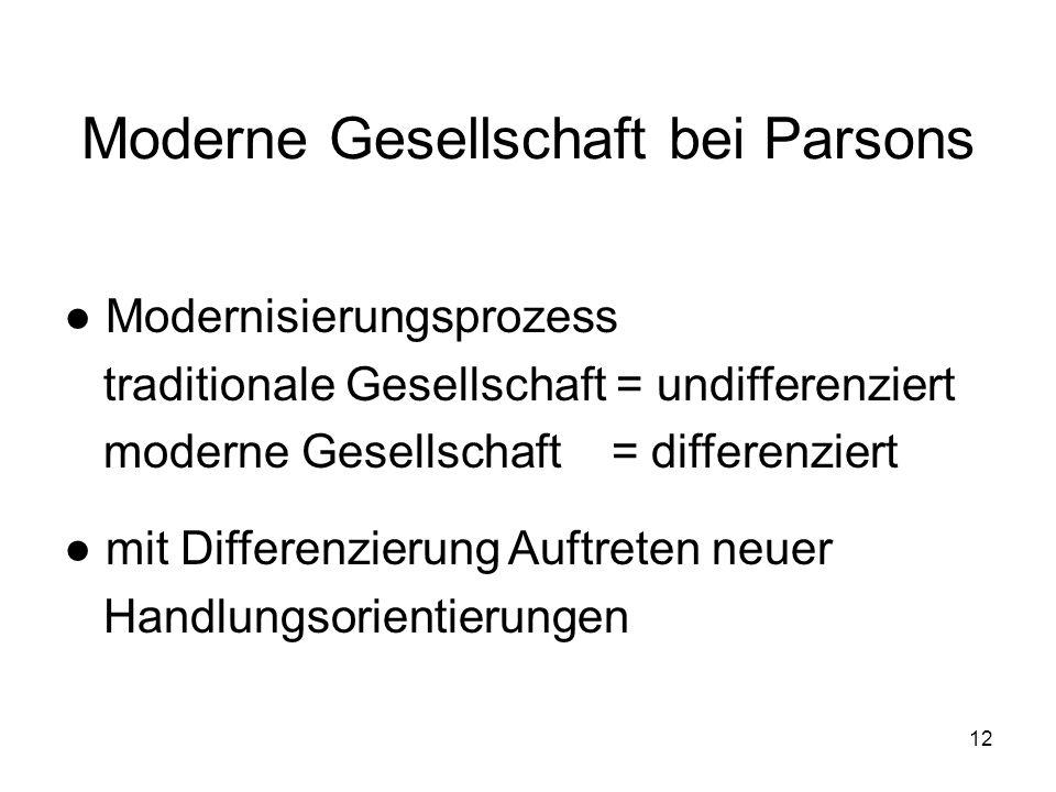 Moderne Gesellschaft bei Parsons