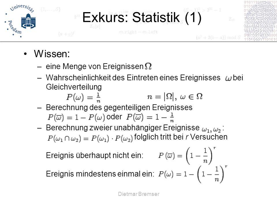 Exkurs: Statistik (1) Wissen: eine Menge von Ereignissen