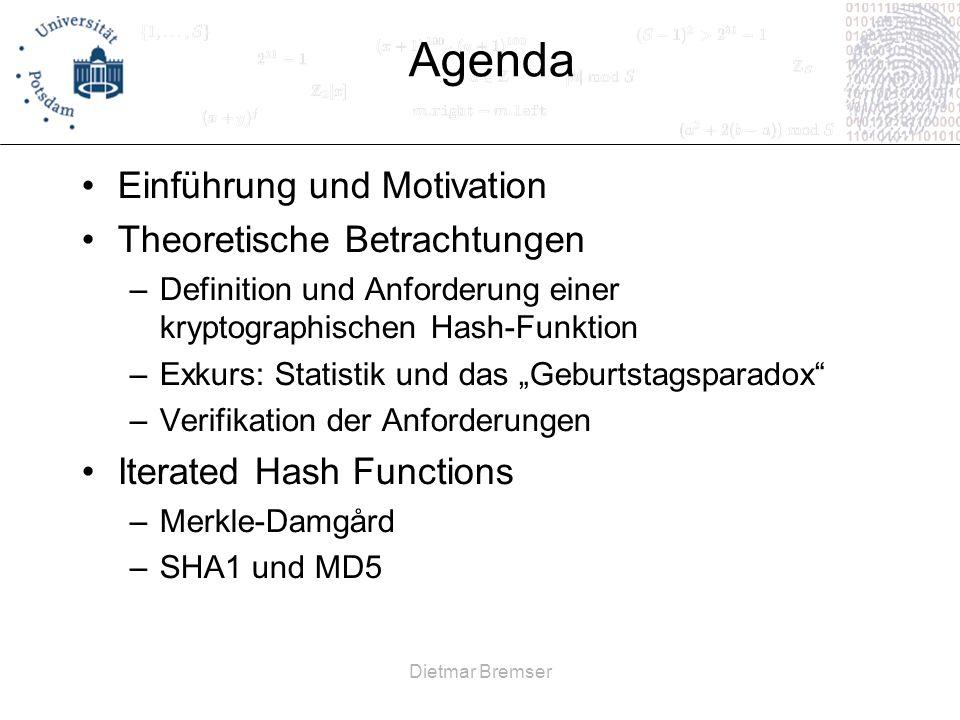 Agenda Einführung und Motivation Theoretische Betrachtungen