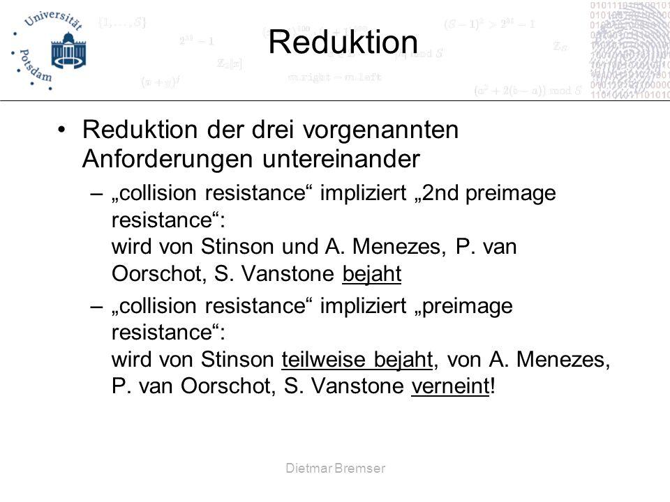 Reduktion Reduktion der drei vorgenannten Anforderungen untereinander