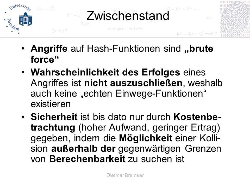 """Zwischenstand Angriffe auf Hash-Funktionen sind """"brute force"""