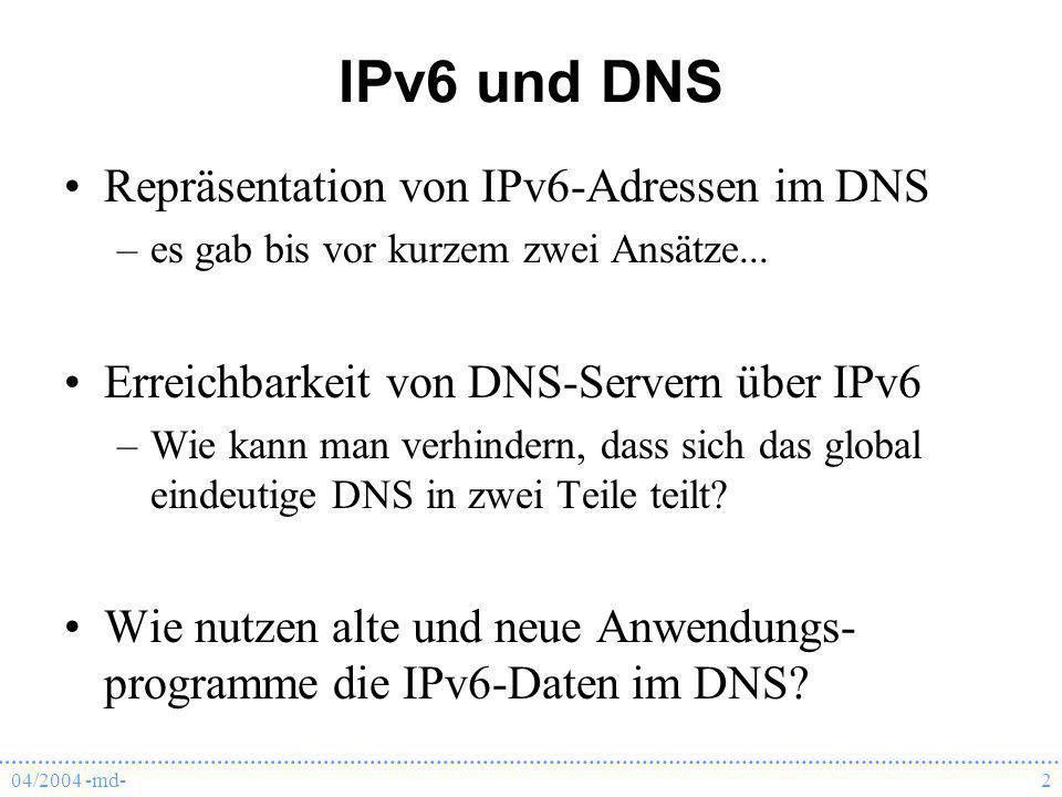 IPv6 und DNS Repräsentation von IPv6-Adressen im DNS