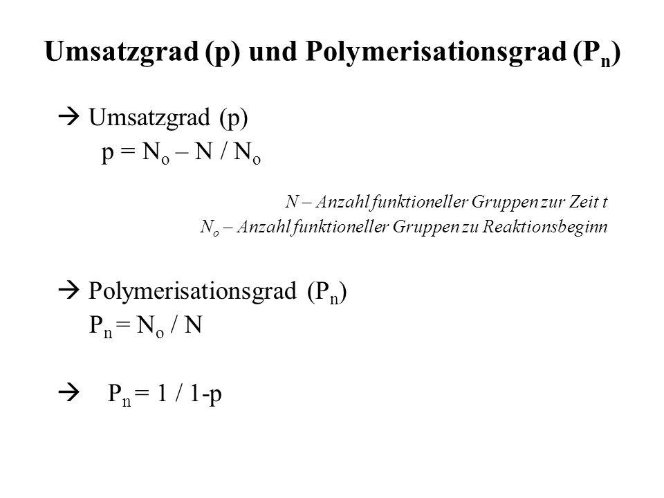 Umsatzgrad (p) und Polymerisationsgrad (Pn)
