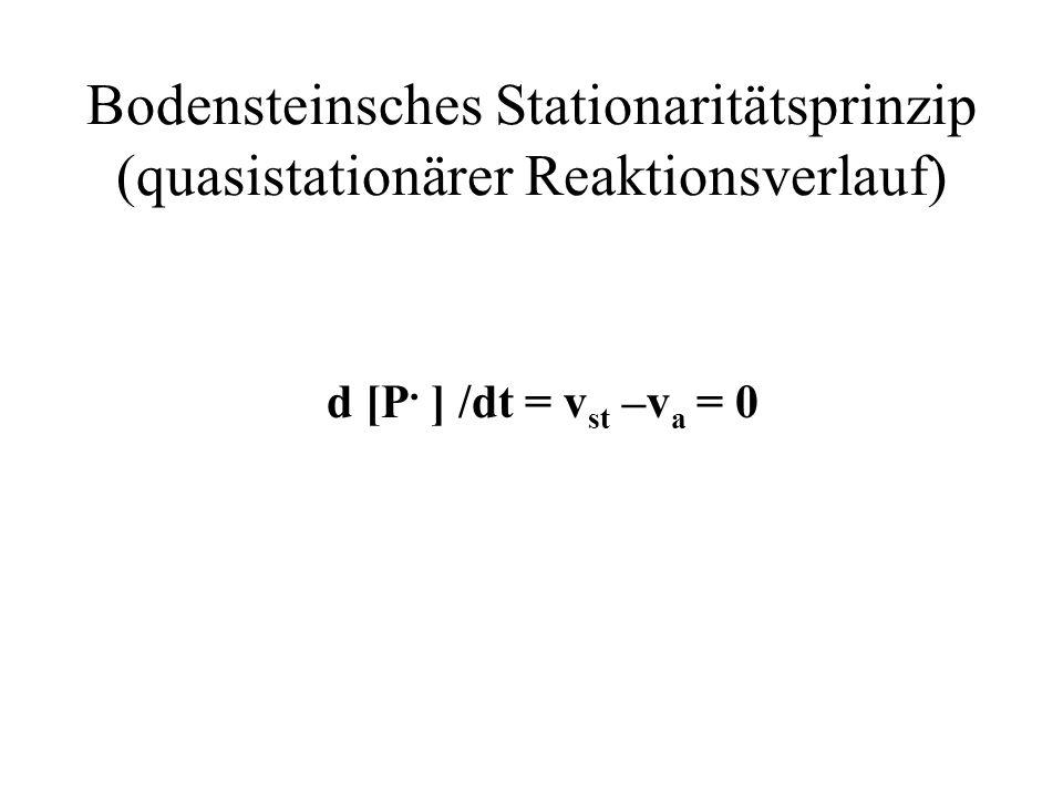 Bodensteinsches Stationaritätsprinzip (quasistationärer Reaktionsverlauf)