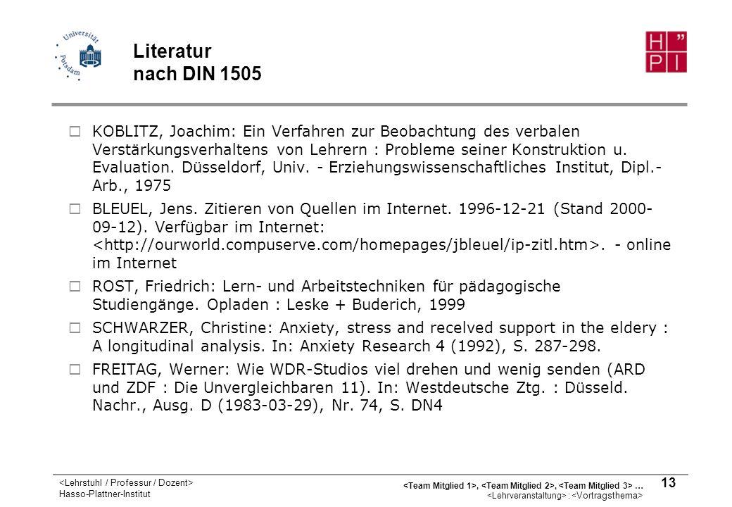 Literatur nach DIN 1505