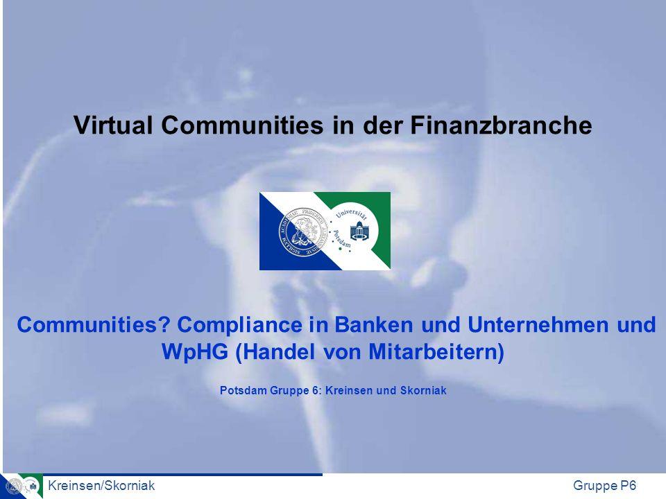 Virtual Communities in der Finanzbranche Communities