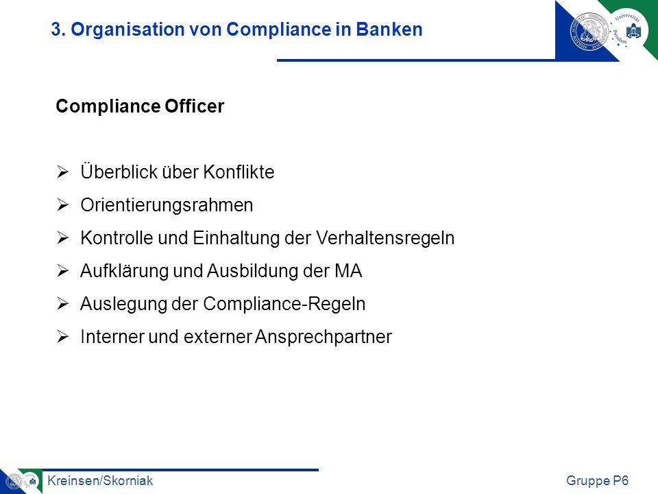 3. Organisation von Compliance in Banken