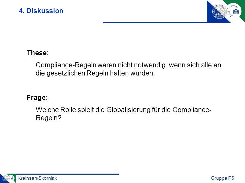 4. Diskussion These: Compliance-Regeln wären nicht notwendig, wenn sich alle an die gesetzlichen Regeln halten würden.