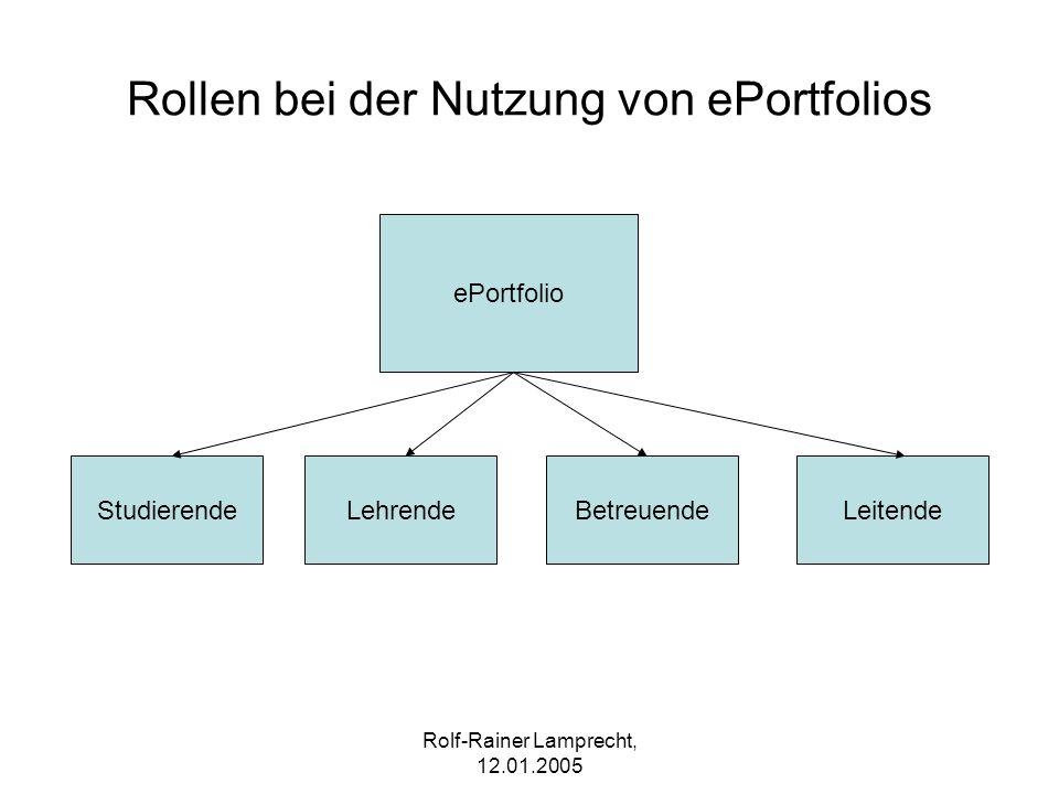 Rollen bei der Nutzung von ePortfolios