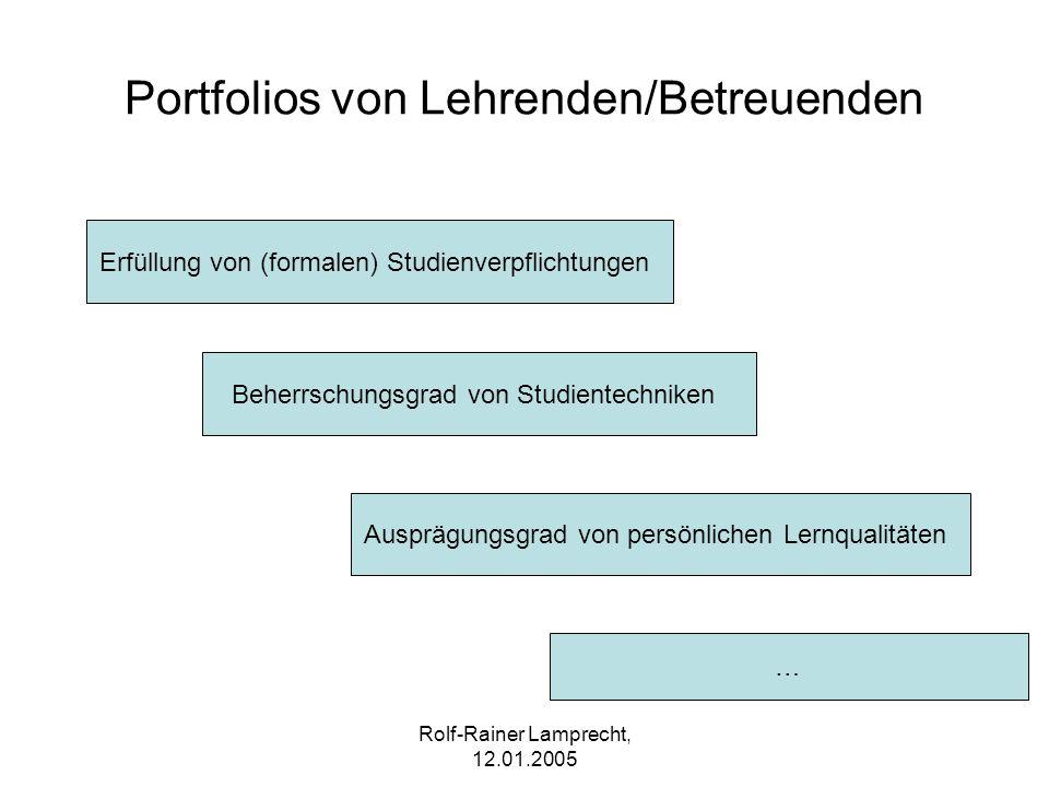 Portfolios von Lehrenden/Betreuenden