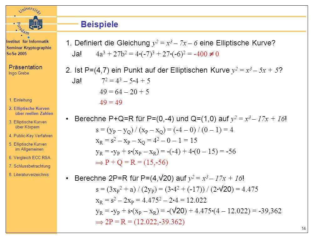 Beispiele Definiert die Gleichung y2 = x3 – 7x – 6 eine Elliptische Kurve Ja! 4a3 + 27b2 = 4(-7)3 + 27(-6)2 = -400  0.