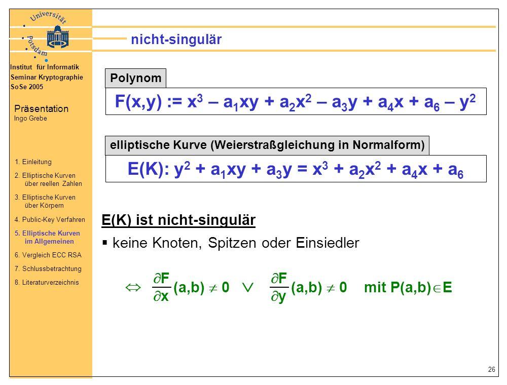  F(x,y) := x3 – a1xy + a2x2 – a3y + a4x + a6 – y2