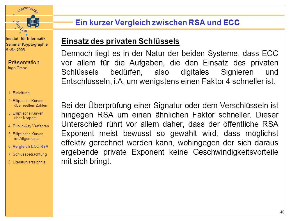 Ein kurzer Vergleich zwischen RSA und ECC