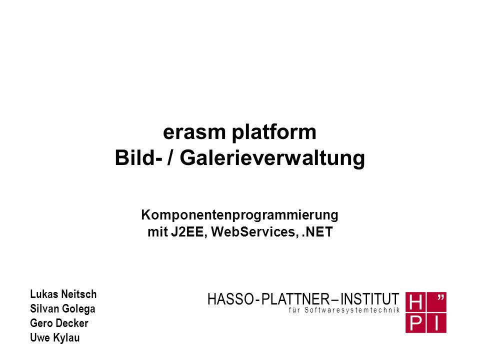 erasm platform Bild- / Galerieverwaltung