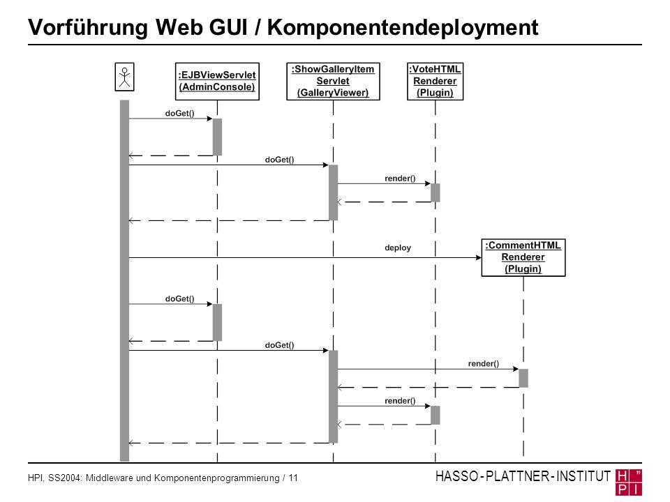 Vorführung Web GUI / Komponentendeployment
