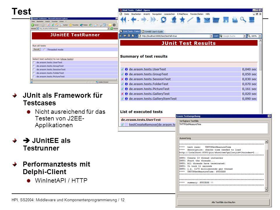 Test JUnit als Framework für Testcases  JUnitEE als Testrunner