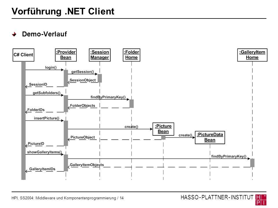 Vorführung .NET Client Demo-Verlauf