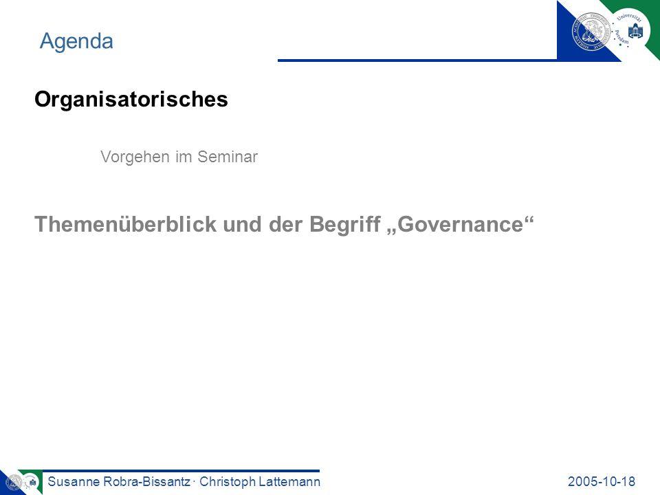 """Themenüberblick und der Begriff """"Governance"""