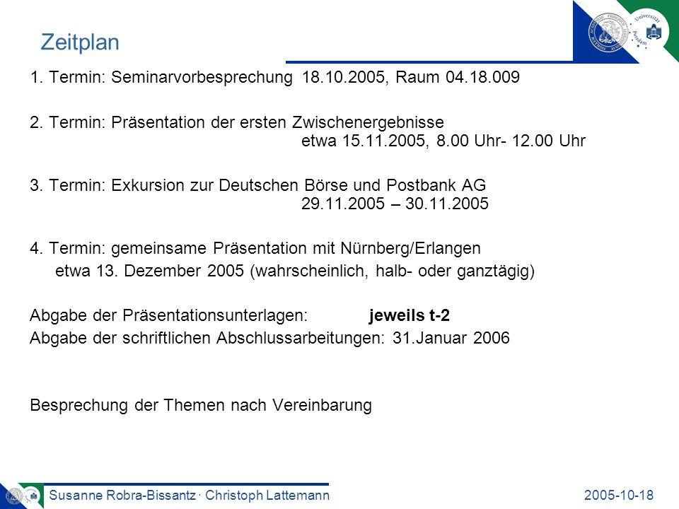 Zeitplan 1. Termin: Seminarvorbesprechung 18.10.2005, Raum 04.18.009