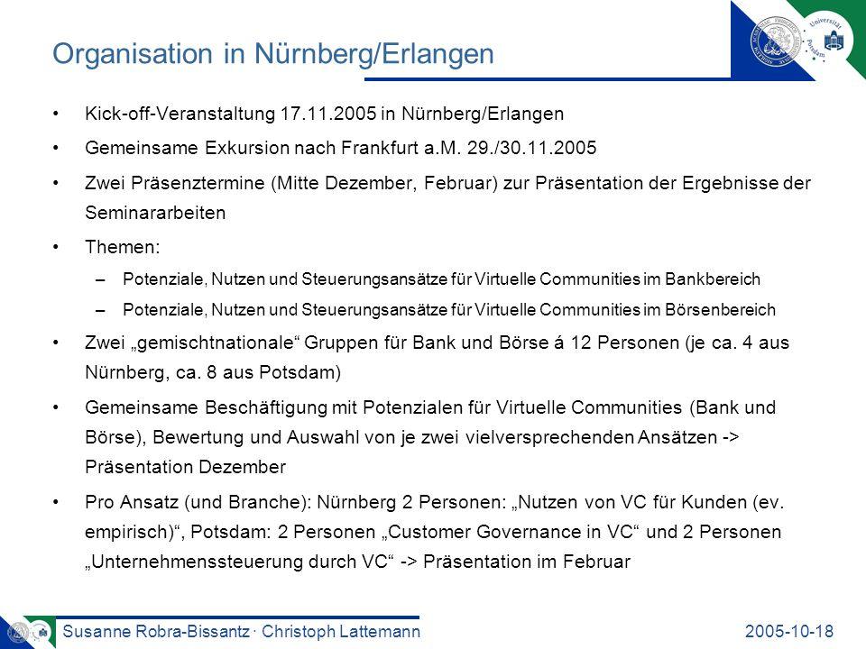 Organisation in Nürnberg/Erlangen