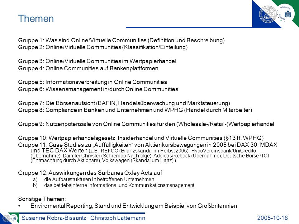 Themen Gruppe 1: Was sind Online/Virtuelle Communities (Definition und Beschreibung)