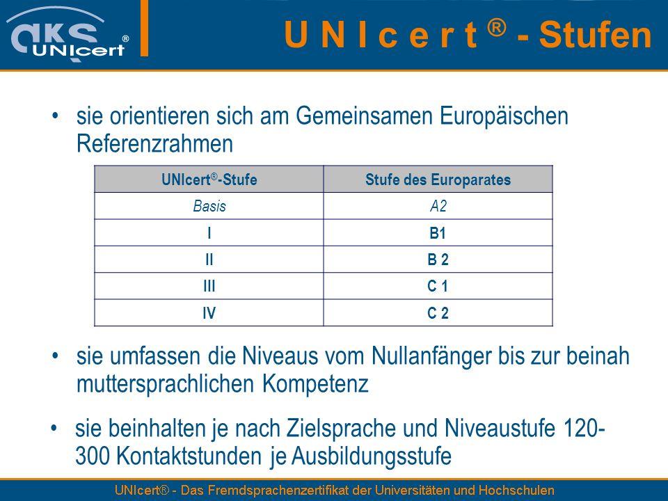 U N I c e r t ® - Stufen sie orientieren sich am Gemeinsamen Europäischen Referenzrahmen. UNIcert®-Stufe.