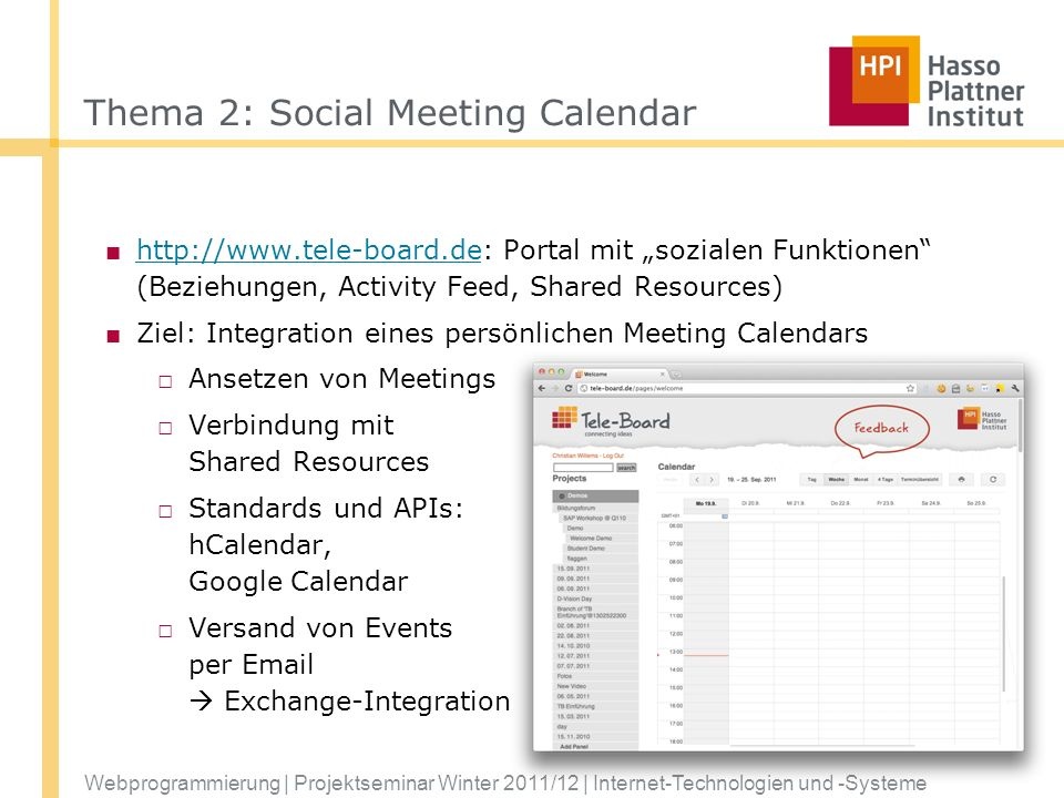 Thema 2: Social Meeting Calendar