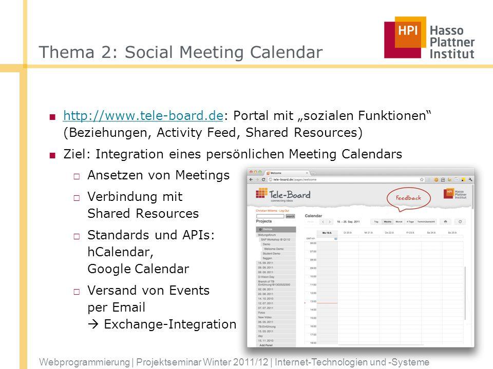 Thema 2: Social Meeting Calendar