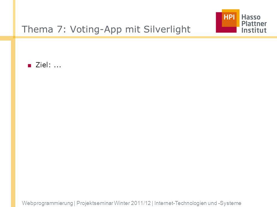 Thema 7: Voting-App mit Silverlight