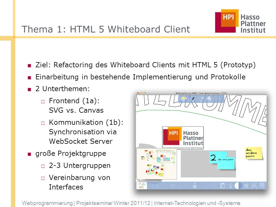 Thema 1: HTML 5 Whiteboard Client