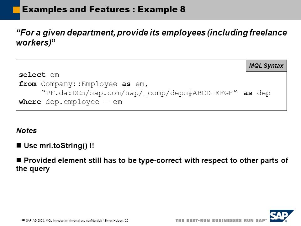 Examples and Features : Example 8