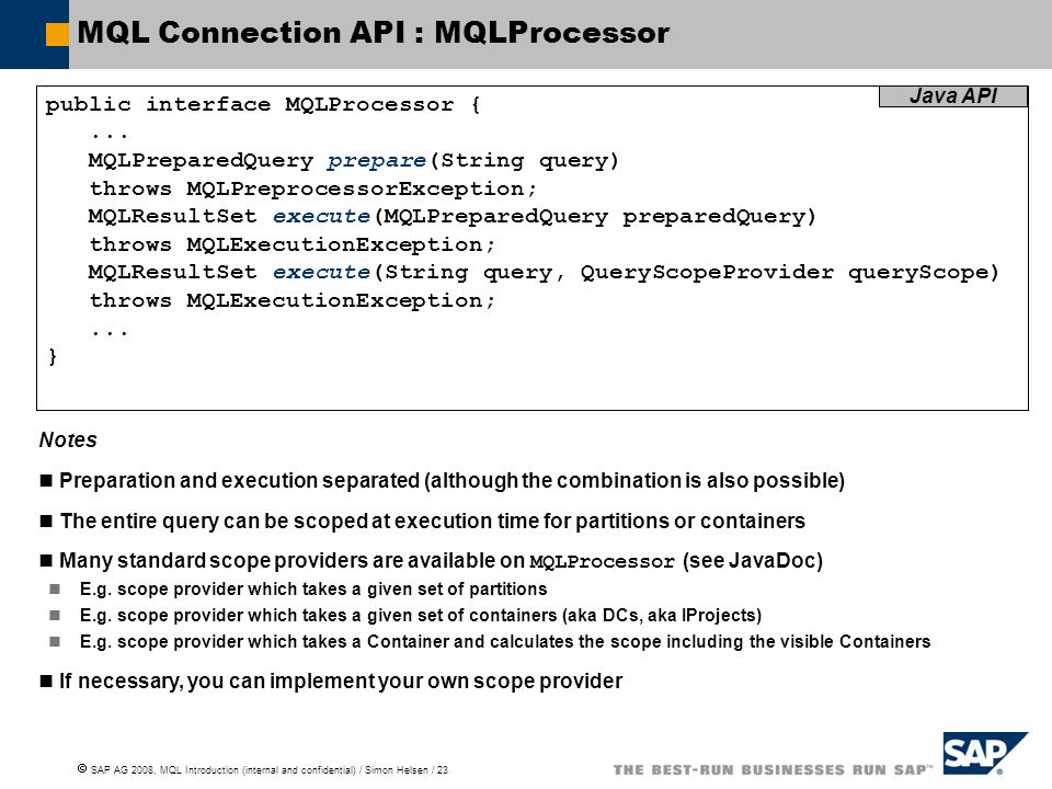 MQL Connection API : MQLProcessor
