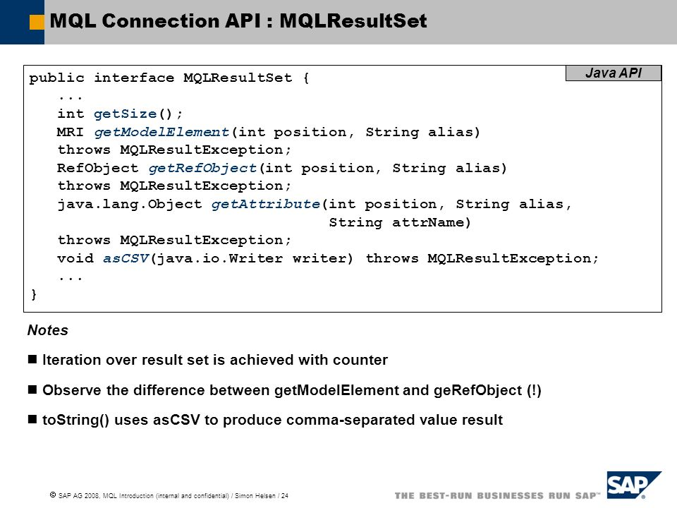 MQL Connection API : MQLResultSet