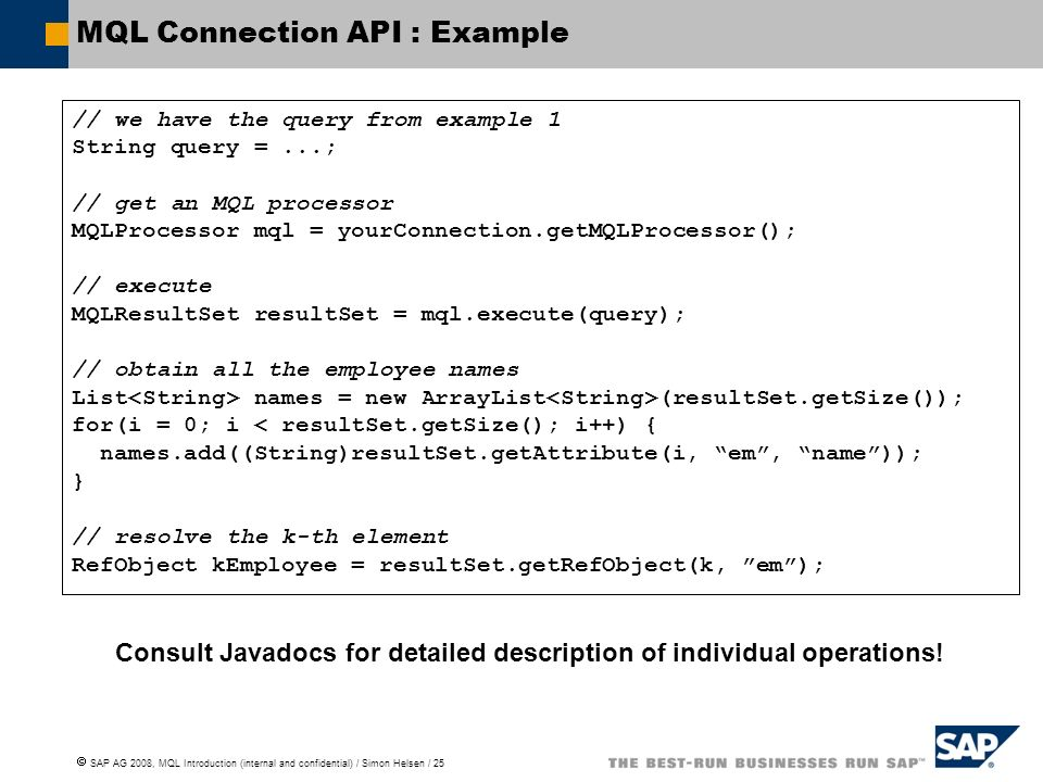 MQL Connection API : Example